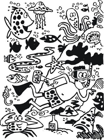 Black and white cartoon of underwater scene. Vector