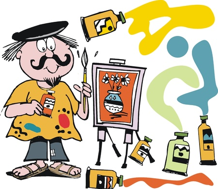 artist: cartoon of happy artist with painting