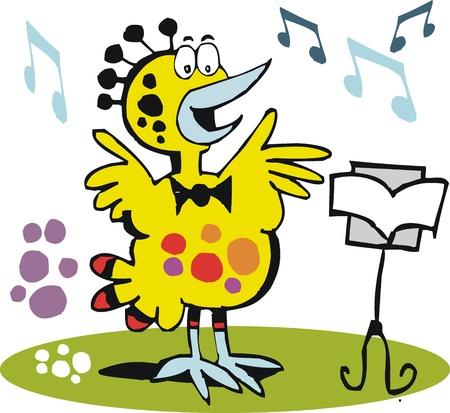 lonely bird: cartoon of yellow bird singing