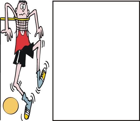 tall man: cartoon of basketball player jumping up to net Illustration
