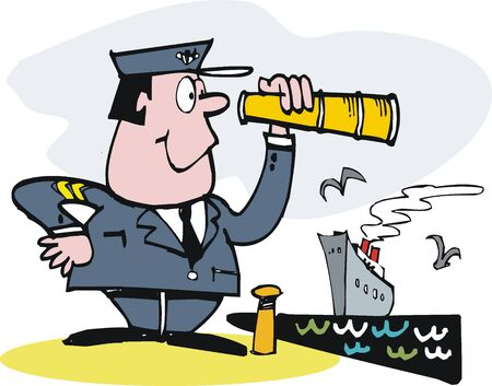 peering: cartoon of smiling captain with telescope.  Illustration