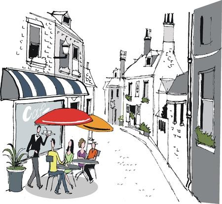 personas comiendo: ilustraci�n de la escena francesa Street Cafe Vectores