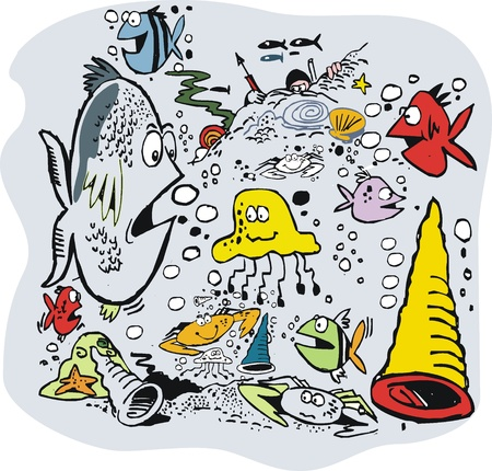 cartoon of funny underwater scene. Vector