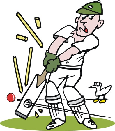aghast: Vector cartoon of cricketer being bowled out.