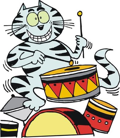 happy cat: Vector Cartoon von gl�cklichen Katze Schlagzeug zu spielen Illustration