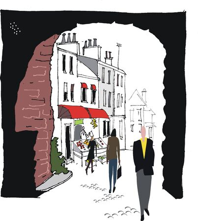 cobblestone street: Vector illustration of old archway in village, England
