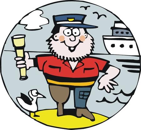 Vector cartoon of smiling sea captain  Stock Vector - 11118939