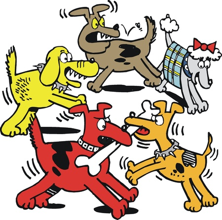 fierce: Vector cartoon of dogs fighting