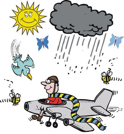 żartować: Cartoon z pilotem w małym samolotem.