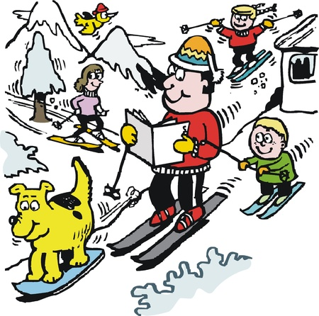 jokes: Vector cartoon of happy skier reading newspaper