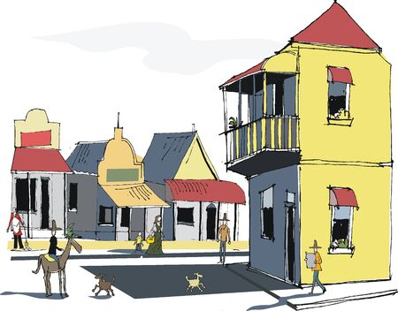 western town: Vector illustration of old Western town.  Illustration