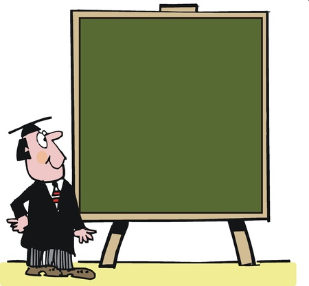 displaying: Vector cartoon of teacher with large blackboard Illustration