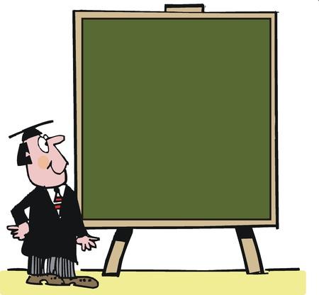 introducing: Vector de la historieta de maestros con gran pizarra Vectores