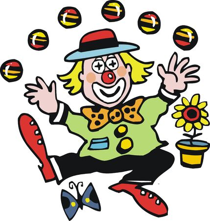 Vector cartoon of happy clown juggling balls.  Vector