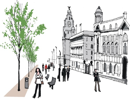 avenue: Vector illustration of Liverpool buildings and people.