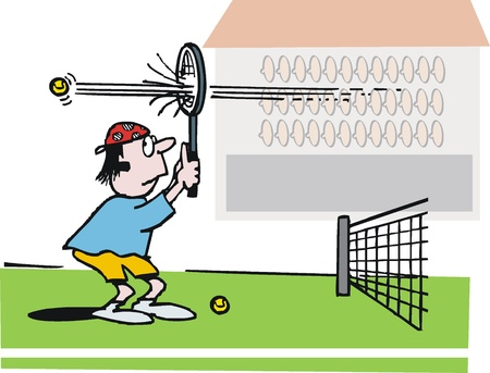 tennis serve: Vector cartoon of bewildered tennis player.