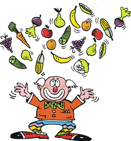 Vector cartoon of clown juggling fruit and vegetables Vector