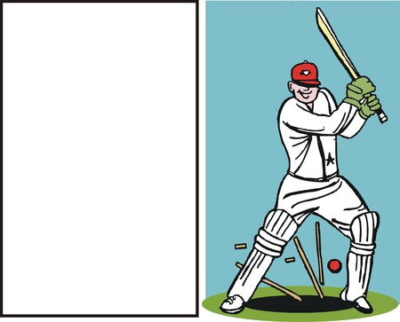 bail: Vector cartoon of cricketer being bowled out.