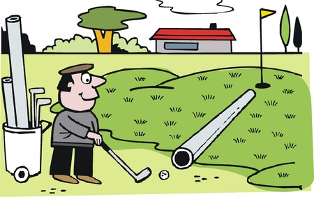 putting green: Vector cartoon of clever golfer