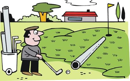 golf cart: Vector cartoon of clever golfer