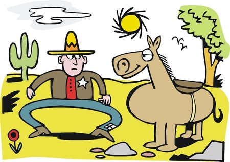 Vector cartoon of cowboy and horse Vector