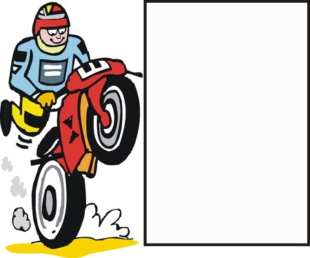 motocross riders: Vector cartoon of motorbike rider