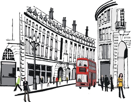 black and white line drawing: Vector illustration of Piccadilly, London England