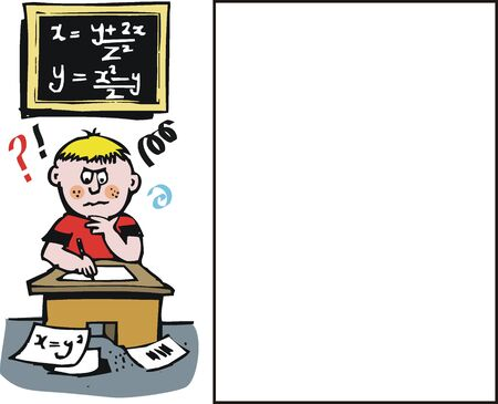 thinking student: Vector cartoon of student sitting exam
