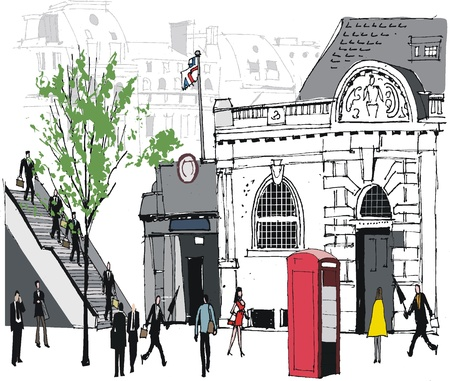 city man: Vector illustration  of people at railway station, London