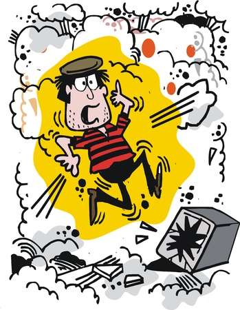 Vector cartoon of startled burglar with exploding safe Stock Vector - 11177304