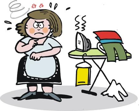 plancha de vapor: Vector de dibujos animados de ama de casa molesta con plancha de vapor