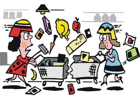 collision: Vector cartoon of women buying grocery items