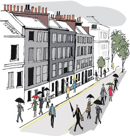 Vector illustration of Whitehall street scene, London Vetores