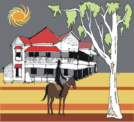 outback australia: Vector illustration of outback pub scene, Australia
