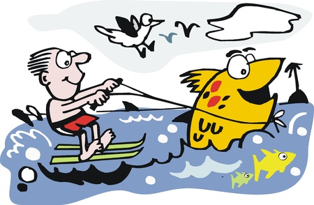 water  skier: Vector cartoon of man on water skis and fish