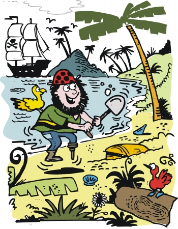 digging: Vector cartoon of pirate with treasure chest Illustration