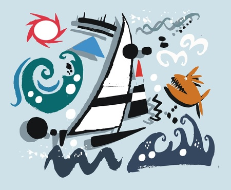 seas: Vector illustration of yacht in rough seas.