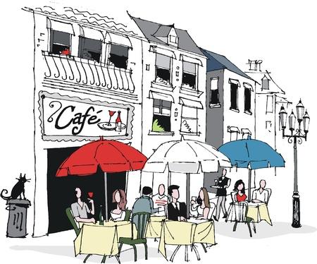 Ilustración vectorial de la escena de café francés