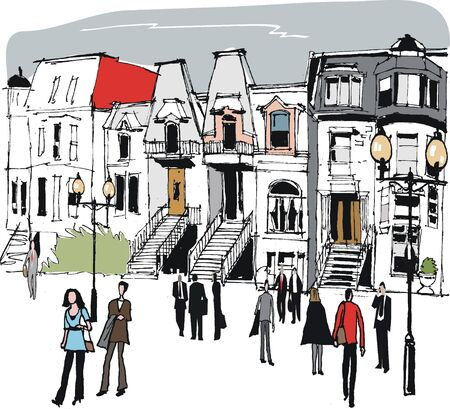 montreal: Vector illustration of old Montreal houses, Canada