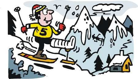 casts: Vector cartoon of happy skier with broken leg. Illustration