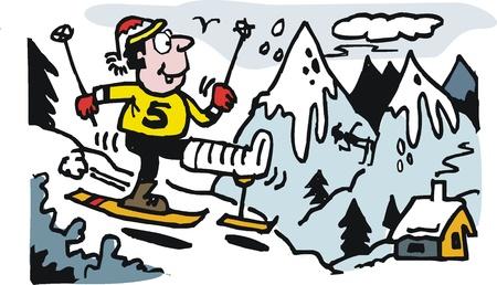 plaster leg cast: Vector cartoon of happy skier with broken leg. Illustration