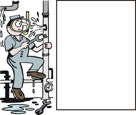 blue collar: Vector cartoon of plumber mending broken pipe
