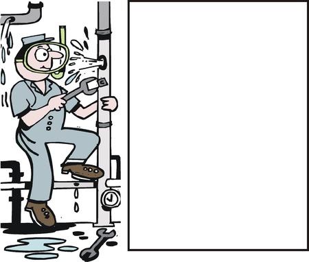 Vector cartoon van de loodgieter herstellen gebroken pijp Vector Illustratie