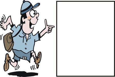 Vector cartoon of excited school boy running Stock Vector - 11285404
