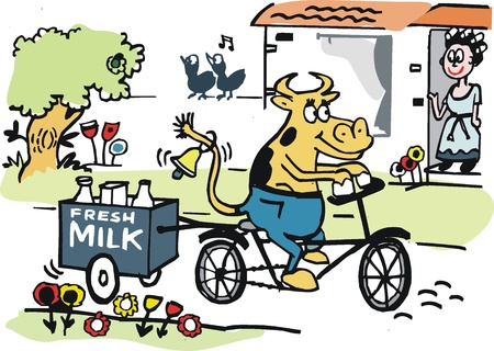 Vector cartoon of cow delivering milk on bicycle Vector