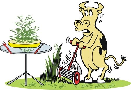 Vector cartoon of cow using lawnmower Stock Vector - 11285411