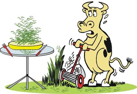 lawn mowing: Vector cartoon of cow using lawnmower