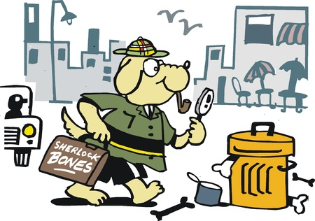 Vector cartoon of dog private eye hunting for bones