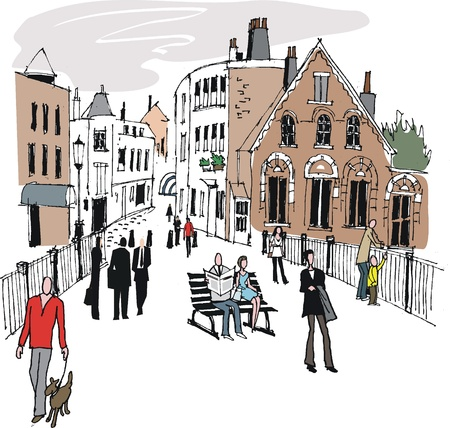 informal: Vector illustration of Windsor Eton buildings, England.