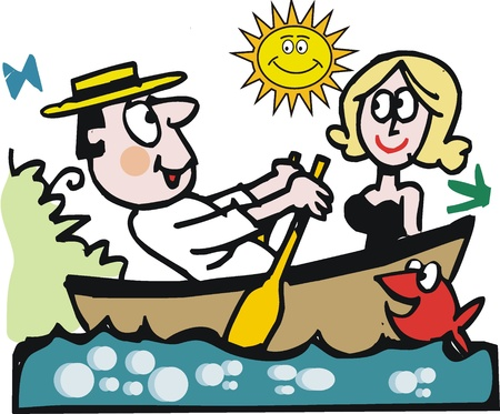 rowing boat: Vector cartoon of man and woman in small boat.